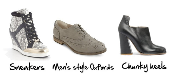 Fall 2014 shoe trends: sneakers, men's style oxfords and chunky heels.