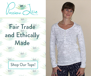 Passion Lilie tops are fair trade and ethically made, like this white, long-sleeved, half-buttoned shirt with black polka dots.