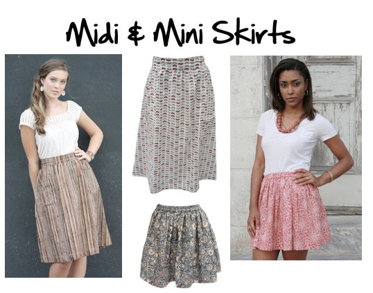 Fair trade and ethical midi and mini skirts