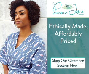 This stylish blue top from Passion Lilie is ethically made and affordably priced. Even those on a budget can make a difference by shopping ethical items on clearance.