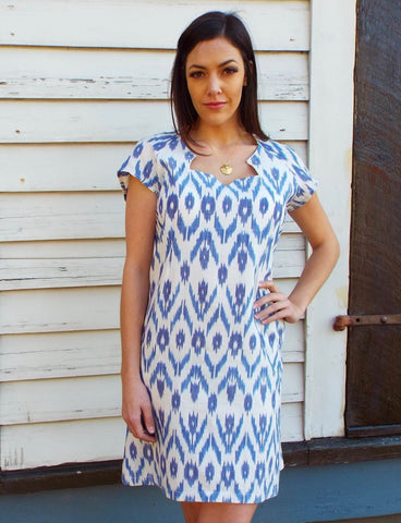 Wear an ikat design from Passion Lilie, such as this Beach Breeze Dress with an ikat print.