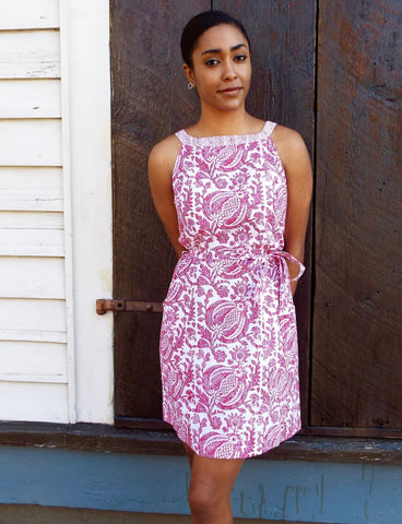 Wear our Pink Pomegranate Dress as a summer outfit for your next wedding rehearsal dinner.