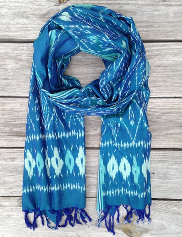 Passion Lilie's Caribbean Ikat Scarf features the ikat print or pattern aquatic fans will love.