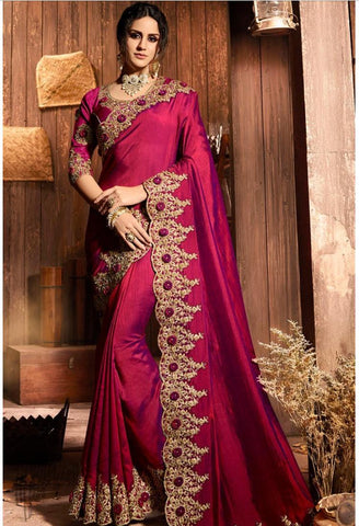 Wine Silk Embroidered Saree