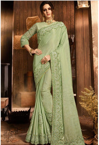 Mint Green Fancy Silk Embroidered Saree