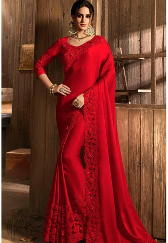 Dark Red Silk and Net Saree