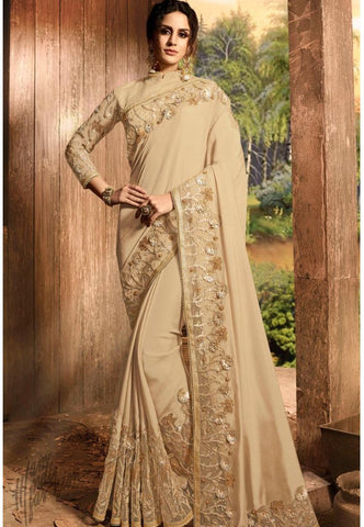 Beige Pure Silk and Net Saree