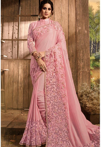 Baby Pink Satin Silk and Net Saree