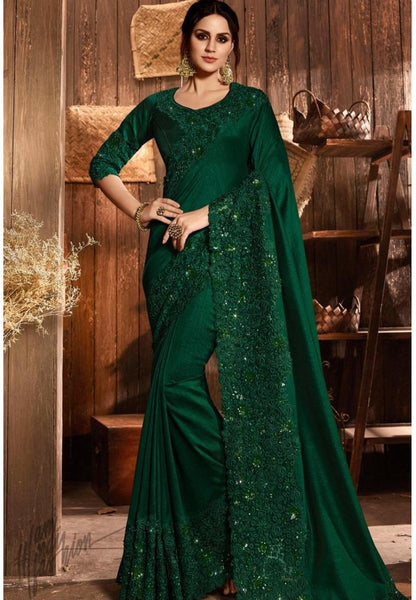 Dark Green Pure Silk and Net Saree