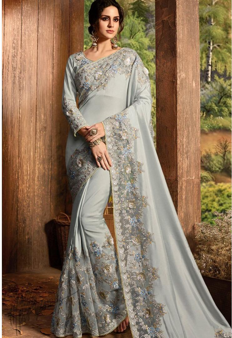 Gray Pure Silk and Net Saree