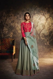 Greyish Green and Red Anarkali Gown with Dupatta
