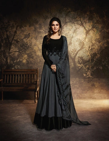 Black and Grey Floor Length Anarkali Gown with Dupatta