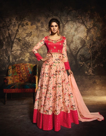 Peach and Red Anarkali Gown with Dupatta