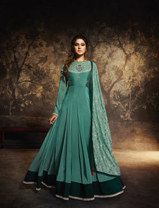 Teal Floor length Anarkali Gown with Dupatta