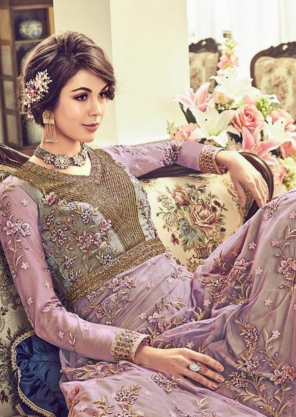 Violet Net Embroidered Anarkali Suit