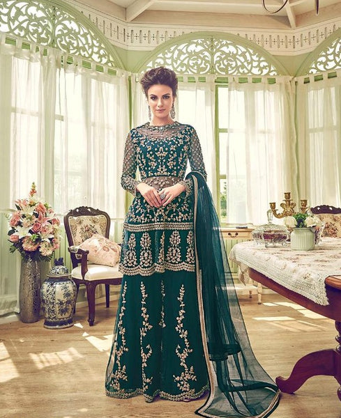 Dark Green Embroidered  Palazzo Suit