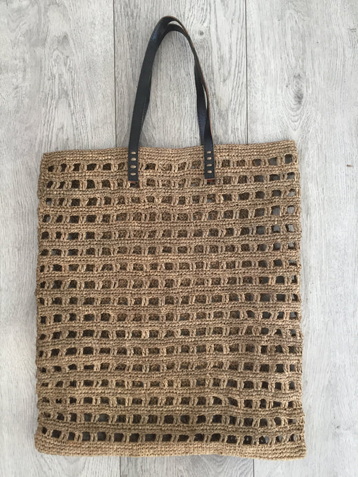 NETTED TOTE BAG (LEATHER STRAPS)