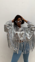 Load image into Gallery viewer, SEQUIN FRINGE BOMBER JACKET
