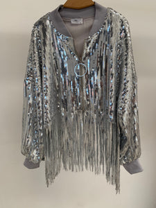 SEQUIN FRINGE BOMBER JACKET