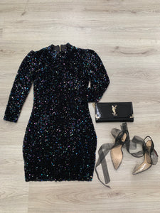 MULTI SEQUIN MIDI DRESS