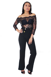 LALLA OFF SHOULDER LACE BODYSUIT