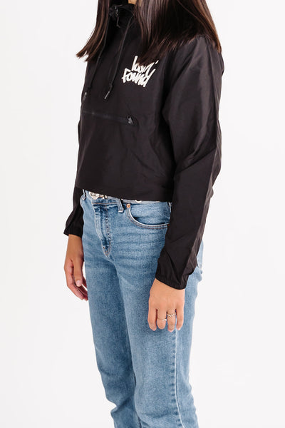 Women's lost'NFound Black Crop Windbreaker