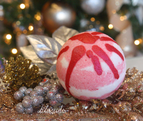 Candy Cane Shea Butter Foaming Bath Bomb
