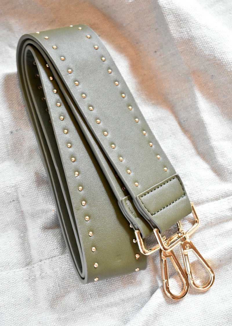 STUDDED FAUX LEATHER STRAP