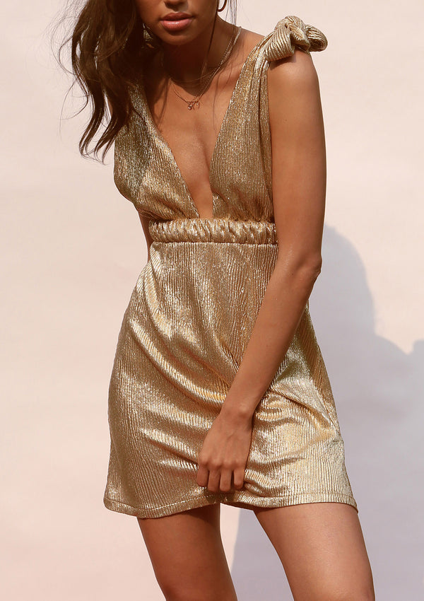 Gold mini dress