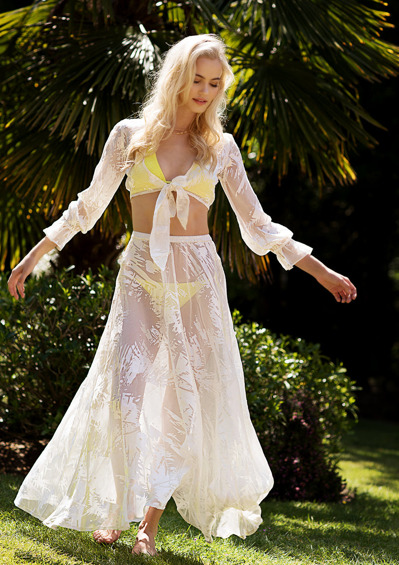 White sheer maxi skirt