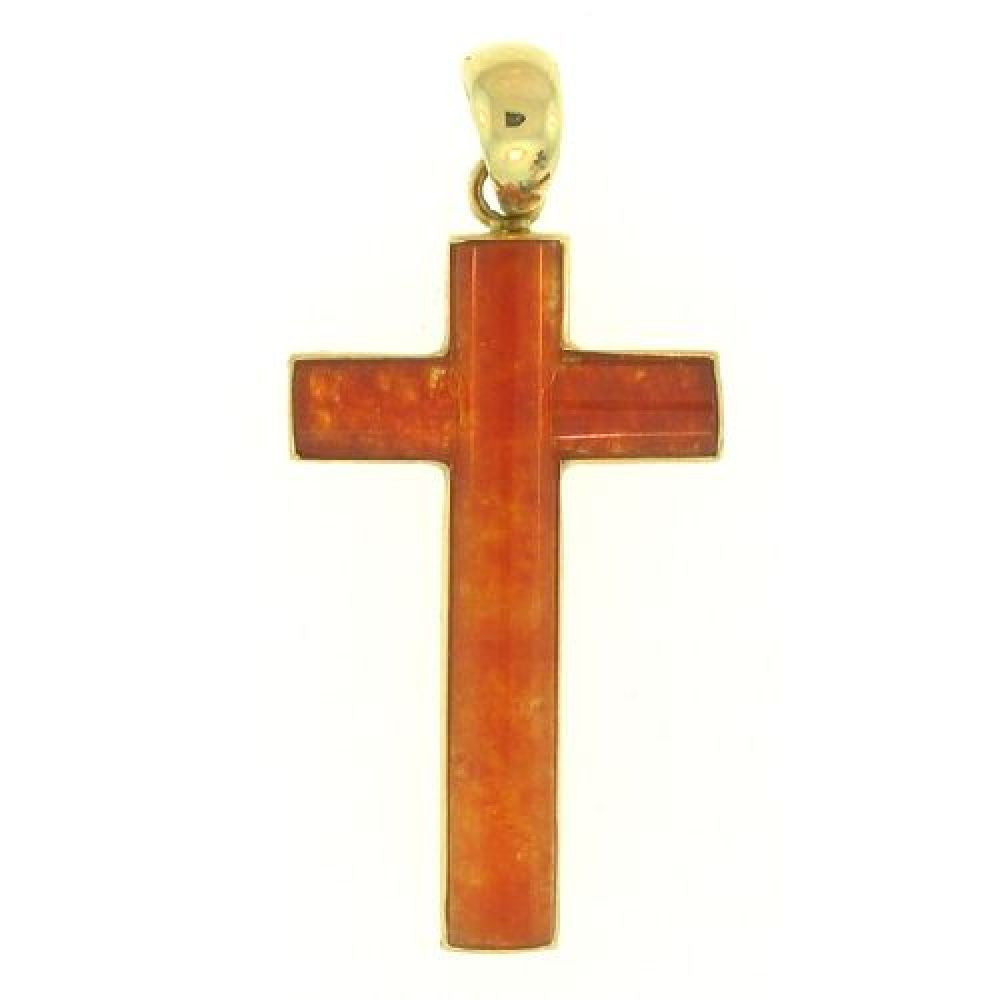 14k Yellow Gold Natural Red Jade Cross Pendant