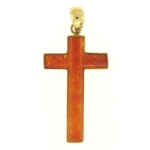 14kt Yellow Gold Natural Red Jade Cross Pendant