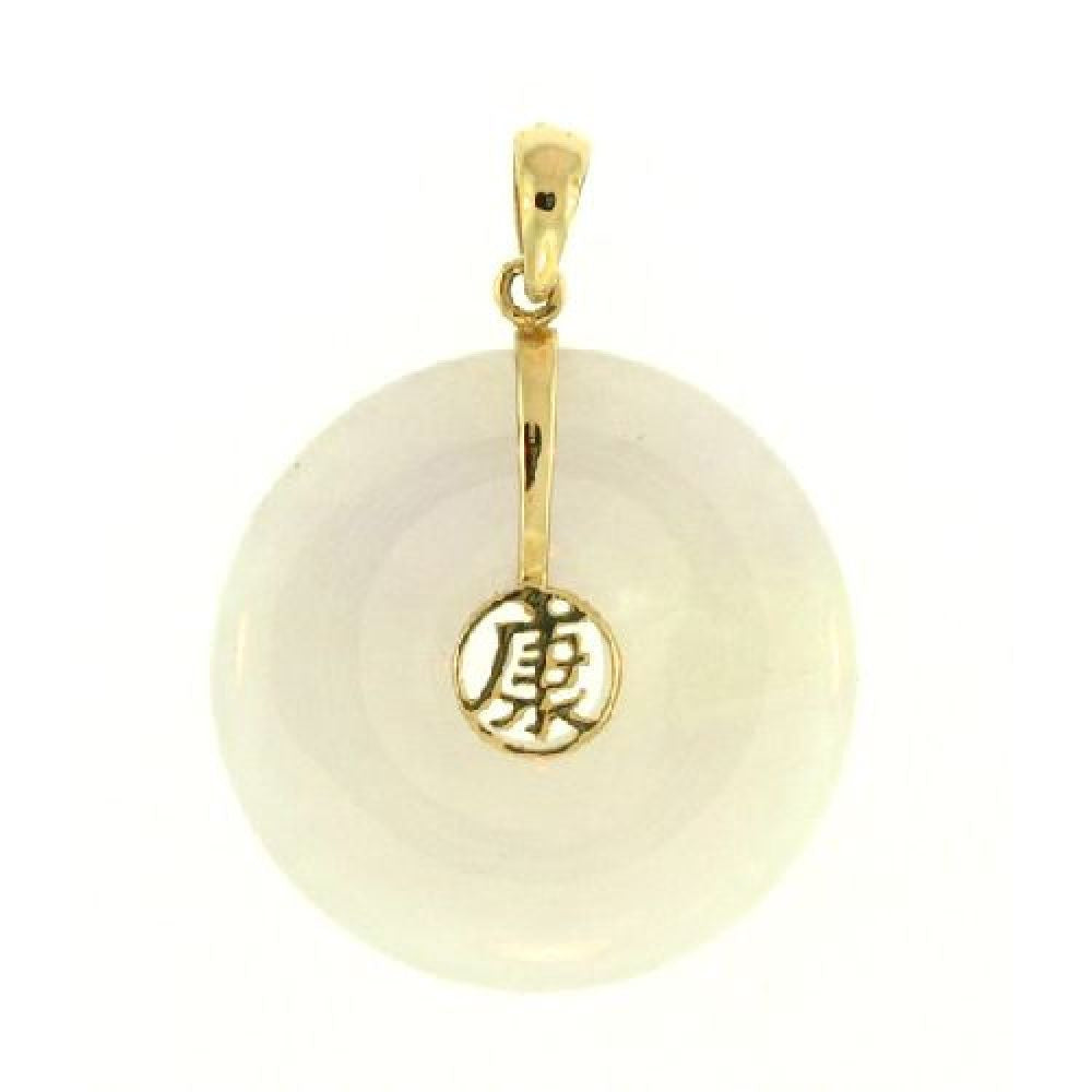 14k Yellow Gold Lavender Jade Disc Pendant