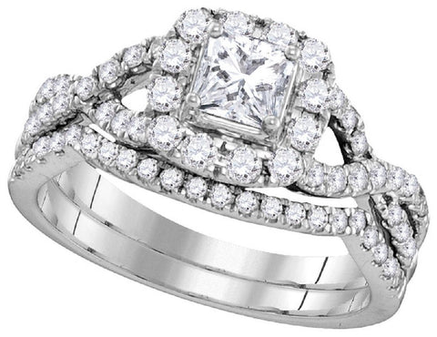 14kt W.G. 1.00ct TW Round Diamond Bridal Ring Set 1/3ct Center
