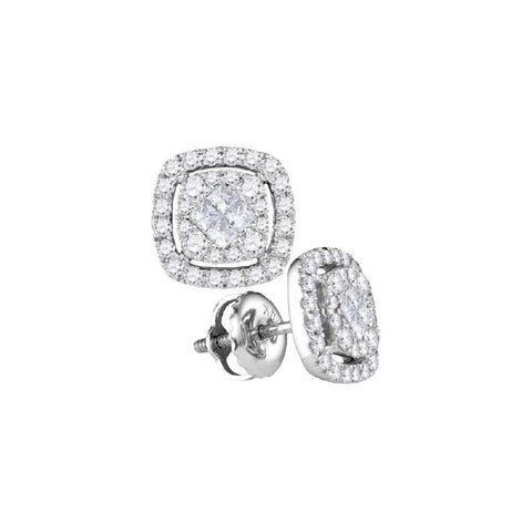 14kt White Gold 2.00 Ctw Round and Princess Diamond Earrings