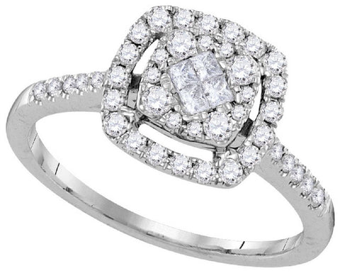 14kt White Gold 1/2Ctw Round and Princess Diamond Bridal Ring