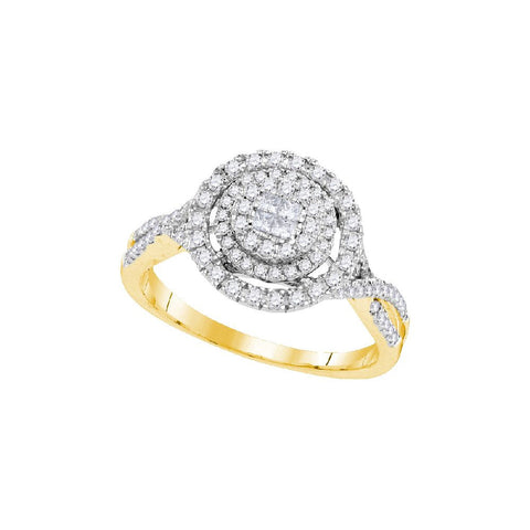 14kt Yellow Gold 1/2Ctw Round and Princess Diamond Bridal Ring