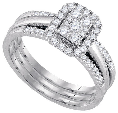 10kt White Gold 0.50ct TW Round Diamond Amour Bridal Ring Set