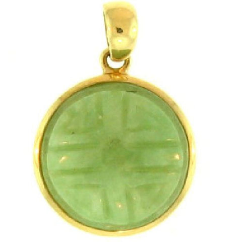 14k Gold Light Green Jade Carved Key Circle Pendant