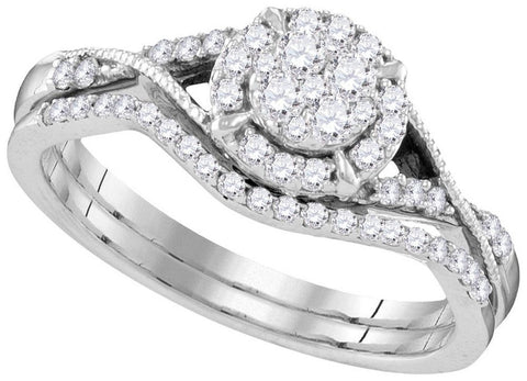 10kt White Gold 0.35ct TW Round Diamond Bridal Ring Set