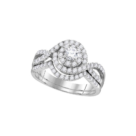14kt W.G. 1.00ct TW Round Diamond Bridal Ring Set 1/5ct Center