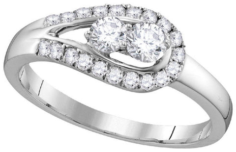10Kt White Gold 1/2Ctw-2 Stone Diamond Bridal Ring