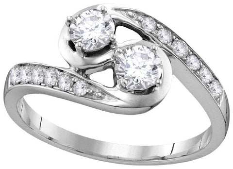 10Kt White Gold 5/8 Ctw-2 Stone Diamond Bridal Ring