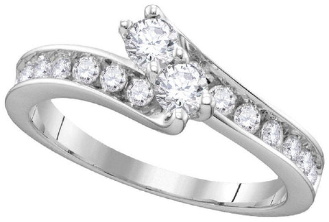 14Kt White Gold 1.50 Ctw-2 Stone Diamond Bridal Ring