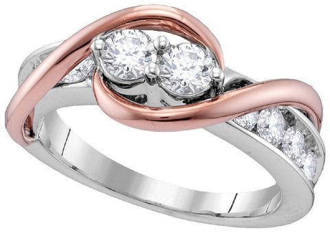 14Kt Two Tone Gold 0.50 Ctw-2 Stone Diamond Bridal Ring