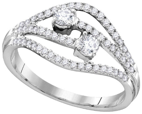 14Kt White Gold 0.75 Ctw-2 Stone Diamond Bridal Ring