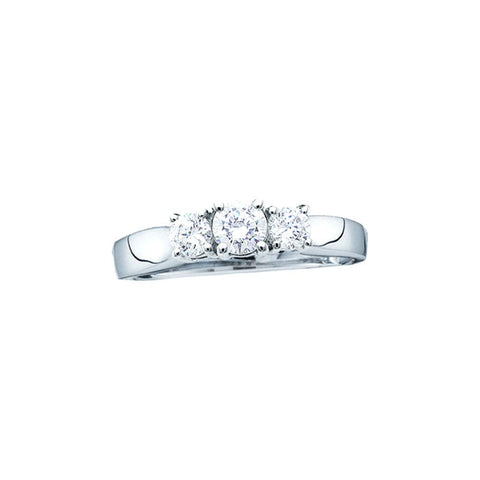 1.00CTW  14kt White Gold Round 3 Stone Diamond Ring sup