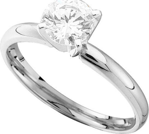 0.90CTW  14kt White Gold Round Diamond Solitaire Ring exc