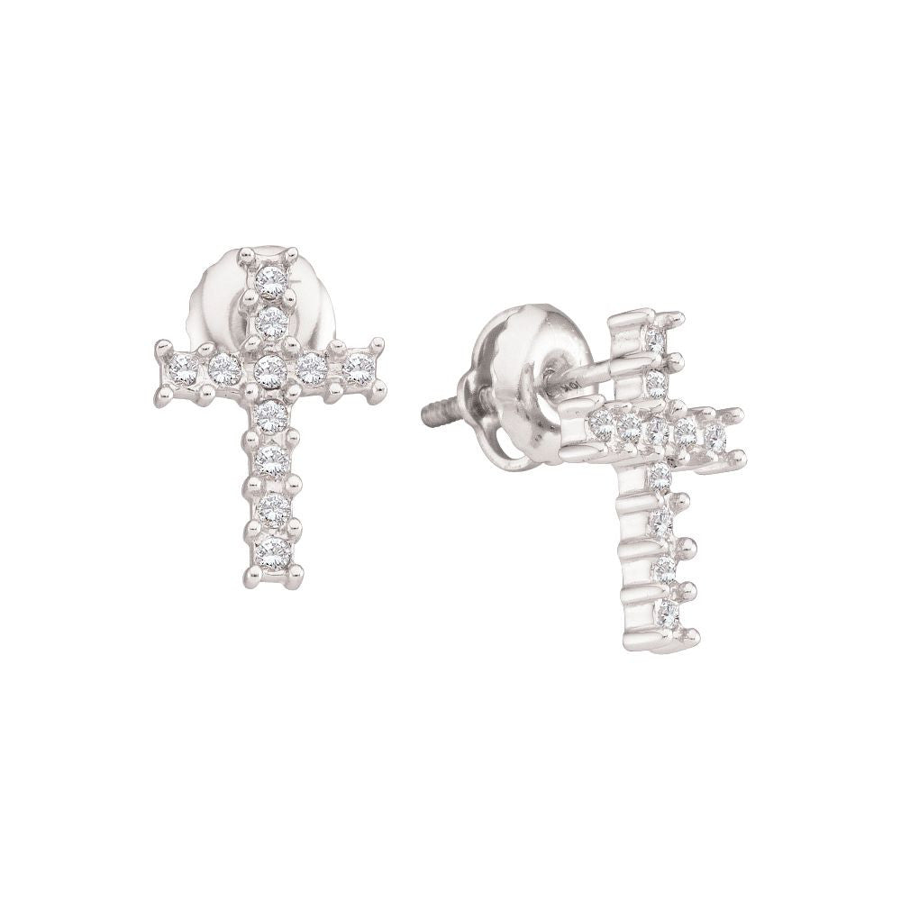 10kt White Gold Diamond Cross Earrings 0.10ct