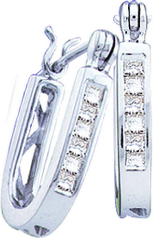 14kt White Gold Princess Diamond Hoop Earrings 0.25ct TW